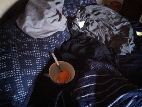 The only bowl in bed should be one full of weed.
